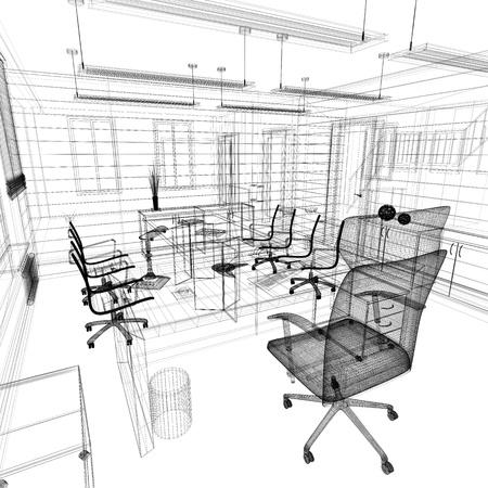 mobiliario de oficina: Interior de la oficina en la representaci?l?ca del estilo 3d Foto de archivo