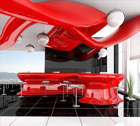 reception in modern hotel 3d image Stockfoto