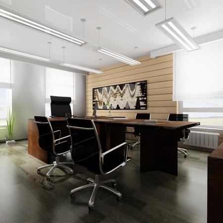 mobilier bureau: Int�rieur de bureau dans le style classique rendu 3d