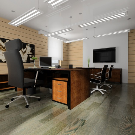 comfortable: Office interior in classical style 3d rendering