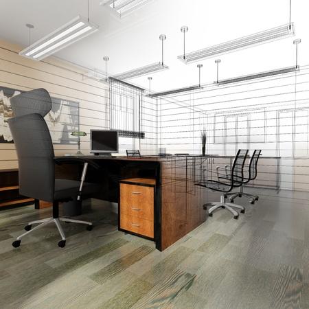 古典的なスタイルの 3 d レンダリングでオフィス インテリア