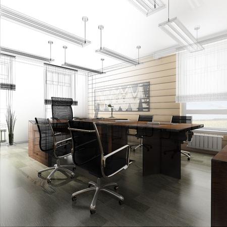 적층: 고전적인 스타일 3d 렌더링 사무실 인테리어