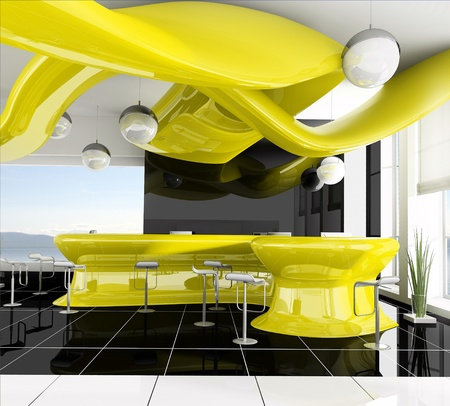 reception in modern hotel 3d image photo