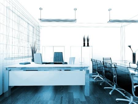 オフィスの 3 d イメージのモダンなインテリア