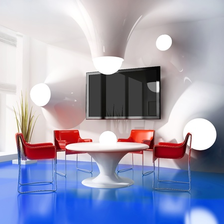 dining table in modern cafe 3d image photo