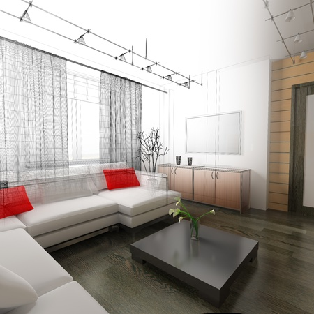 interior of drawing room 3d rendering photo