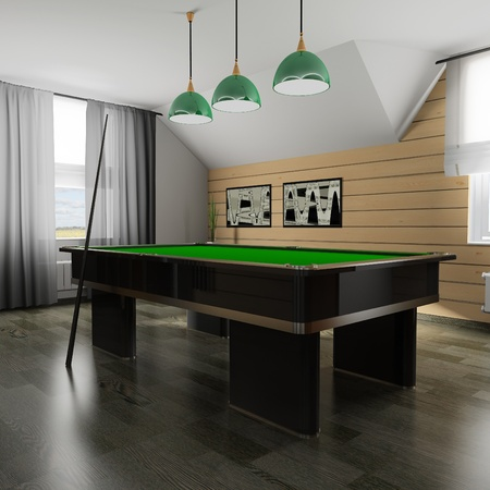 Interior of a room for game in billiards (3d rendering) photo