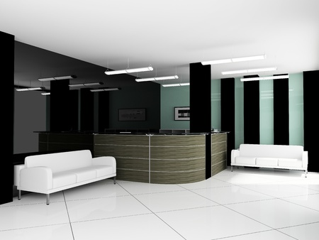 reception office: place for rest in office 3d image Stock Photo