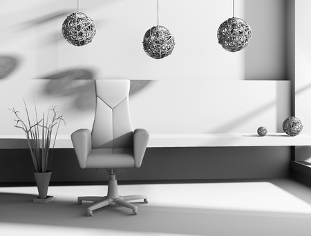 floor plant: Armchair against a wall monochrome drawing (3d rendering)