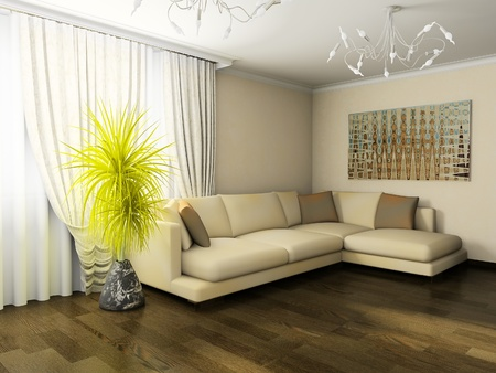 curtain window: interior of drawing room 3d rendering