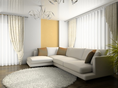 window curtains: interior of drawing room 3d rendering