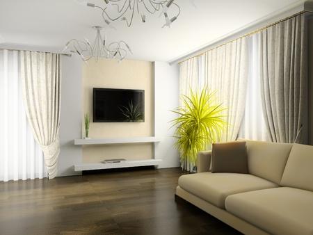 curtain design: interno del salotto di rendering 3d