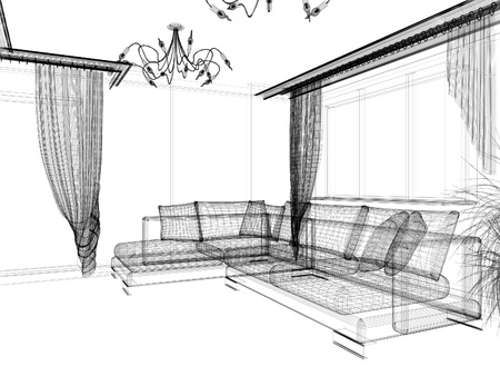 fixture: interior of drawing room 3d rendering