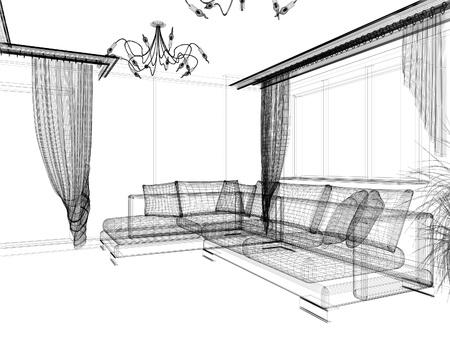 ceiling design: interior of drawing room 3d rendering