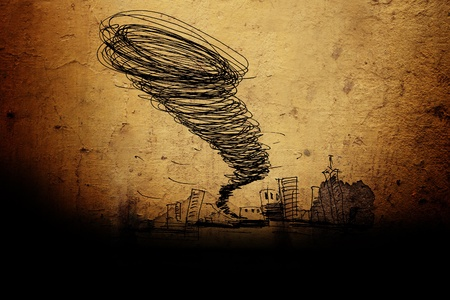 sketch of the hurricane drawn by pencil on grunge background photo