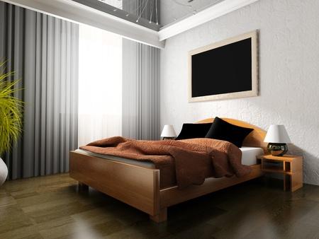 Bedroom in modern style 3d rendering Stock Photo - 10630747