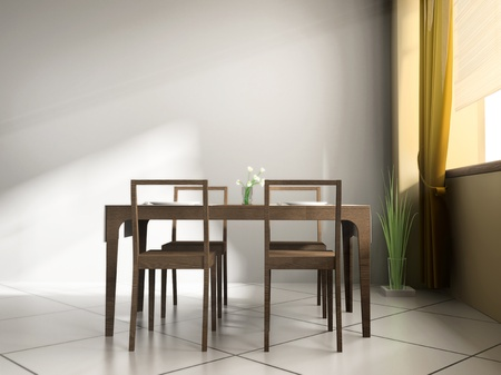 dining table and chairs: dining table in modern cafe 3d image
