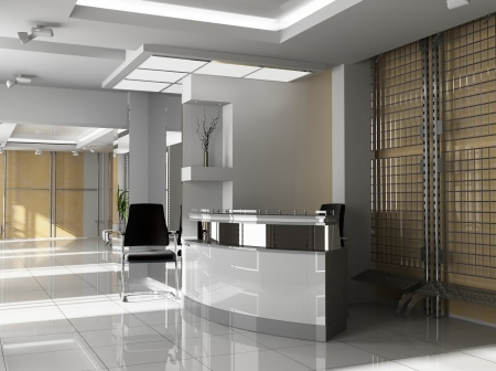 offiice: Hall of office in agoy 3d image