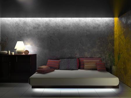 部屋の 3 d レンダリングのモダンなインテリア
