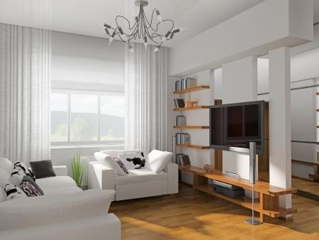 cortinas: sala de estar con el render 3d moderno muebles