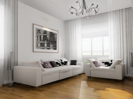 living-room with the modern furniture  3d render   photo
