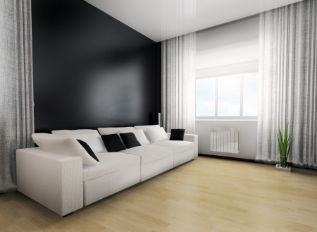 リビング ルーム、モダンな家具の 3 d レンダリング