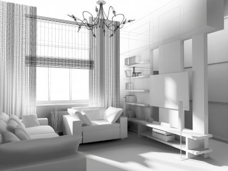 モダンな家具とリビング ルーム。3 d のレンダリング。