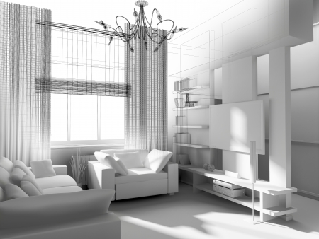 living-room with the modern furniture. 3d render.  photo