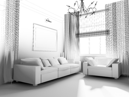 shined: living-room with the modern furniture. 3d render.