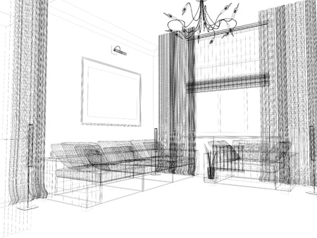 drawing room: living-room with the modern furniture. 3d render.