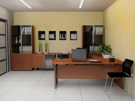 office lighting: Office interior in modern  style 3d rendering Stock Photo