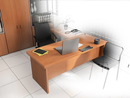 Office interior in modern  style 3d rendering Stock Photo