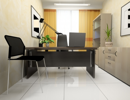 office lighting: Office interior in classical style 3d rendering