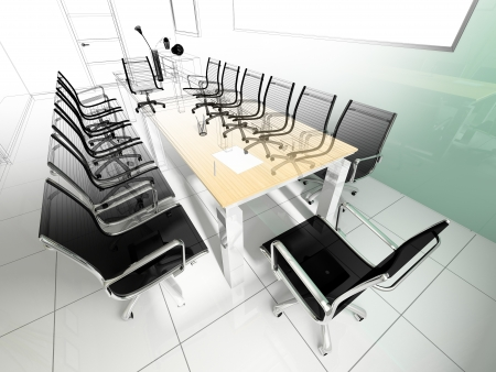 office chairs: Workplace for negotiations in modern office  3d rendering