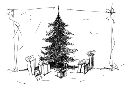 tree sketch: It is black sketch of  Christmas tree