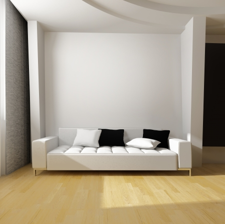 white sofa against the wall in a modern interior
