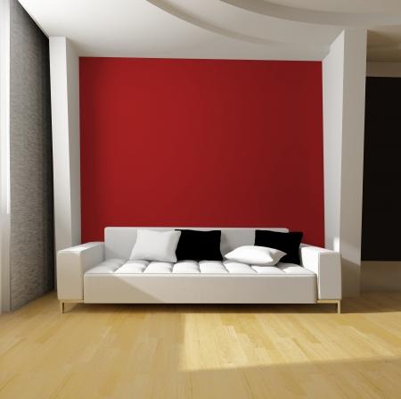 赤い壁の背景に白いソファ