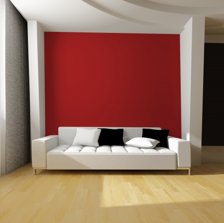 living room sofa: white sofa on red wall background Stock Photo