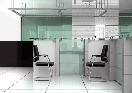 glass doors: Reception in modern office 3d image