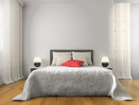 cama: Dormitorio en 3d rendering contempor�neo estilo