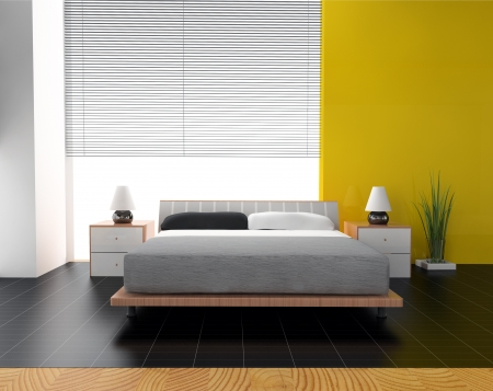 bedding indoors: Bedroom in contemporary style 3d rendering Stock Photo