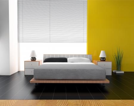 Dormitorio en 3d rendering contemporáneo estilo