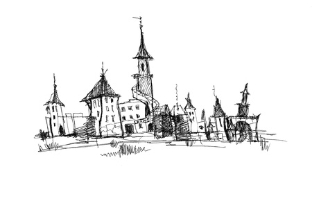 image of the city, drawn by ink on a white background photo