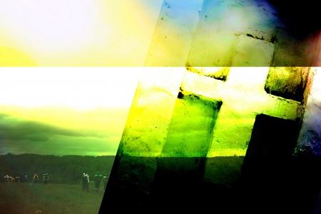 抽象画の背景にキリスト教の十字架