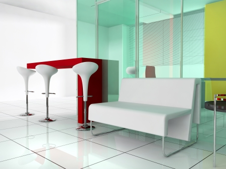 bar stool: bar in a modern interior  3d interior  Stock Photo