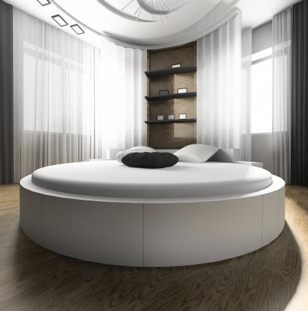 Intérieur d'une chambre avec un lit blanc Banque d'images