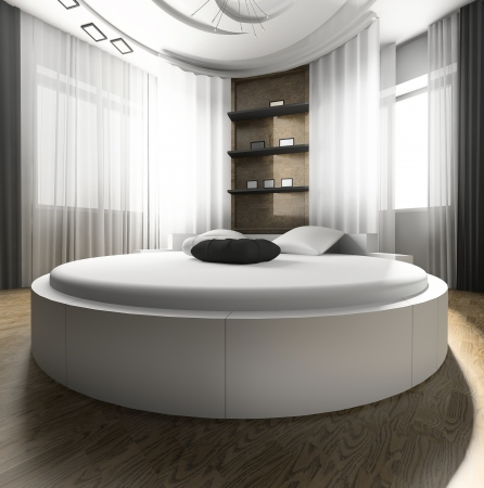 headboard: Interior of a bedroom with a white bed
