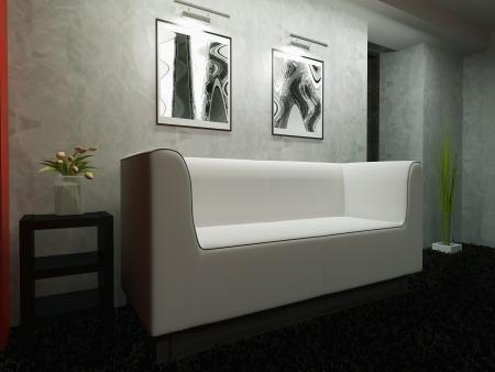 White furniture in modern interior 3d rendering Stock Photo - 23032941