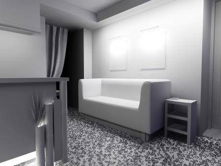 White furniture in modern interior 3d rendering Stock Photo - 23032940