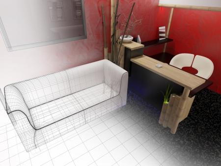 White furniture in modern interior 3d rendering Stock Photo - 23033023